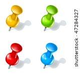 thumb tack push pin multicolor  ...   Shutterstock . vector #47284327