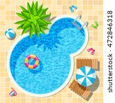 top view relax swimming pool...   Shutterstock .eps vector #472846318