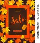 autumn sale vintage vector... | Shutterstock .eps vector #472846546