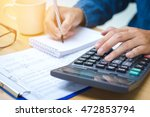 financial data analyzing hand... | Shutterstock . vector #472853794