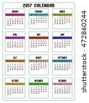 2017 calendar vector template | Shutterstock .eps vector #472860244