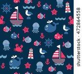 childish dark blue cartoon sea... | Shutterstock . vector #472864558