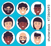 avatars icon set man and woman... | Shutterstock .eps vector #472864693