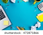 office table desk with set of... | Shutterstock . vector #472871866