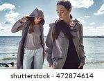beautiful sexy girl walk in... | Shutterstock . vector #472874614