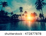 fantastic sunset  palm trees in ... | Shutterstock . vector #472877878