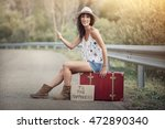 young girl on the road | Shutterstock . vector #472890340