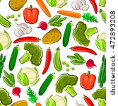 vegetables seamless vector... | Shutterstock .eps vector #472893208