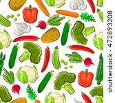 vegetables seamless vector... | Shutterstock .eps vector #472893208