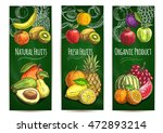fresh juicy fruits banners.... | Shutterstock .eps vector #472893214