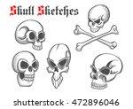 halloween skulls sketch...   Shutterstock .eps vector #472896046