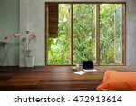 laptop with notebook and big... | Shutterstock . vector #472913614