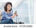 beauty woman take smart phone... | Shutterstock . vector #472913680