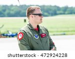 Small photo of BERLIN, GERMANY - JUNE 03, 2016: US Air Force officer at the exhibition ILA Berlin Air Show 2016