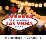 las vegas sign with blur light... | Shutterstock . vector #472935748