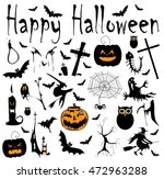 happy halloween background with ... | Shutterstock .eps vector #472963288