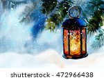 lamp on snow. new year's and... | Shutterstock . vector #472966438