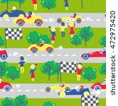 seamless patter with racing... | Shutterstock .eps vector #472975420