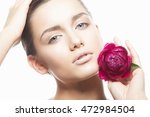 beauty face of caucasian young... | Shutterstock . vector #472984504