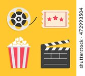 movie reel open clapper board... | Shutterstock .eps vector #472993504