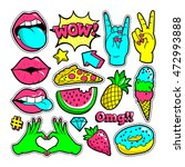 fashion patch badges with lips  ... | Shutterstock .eps vector #472993888