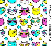 Stock vector seamless pattern with fashion patch badges with cats hearts and stars vector background with 472994128