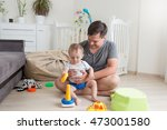 young father playing with his 9 ... | Shutterstock . vector #473001580