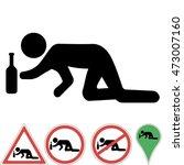 icon a drunk man crawling on...
