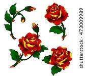 vector tattoo roses clip art in ... | Shutterstock .eps vector #473009989