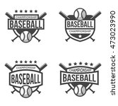 set of sport baseball logo.... | Shutterstock .eps vector #473023990