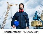 harbor worker portrait | Shutterstock . vector #473029384