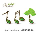 Spring Eco Card On Music Note...