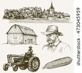 farm  rural village. hand drawn ... | Shutterstock .eps vector #473045959