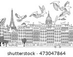 Paris  France   Hand Drawn...