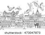 rome  italy   hand drawn black... | Shutterstock .eps vector #473047873