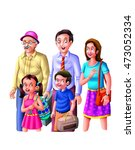 parents  kids and grandfather   ...   Shutterstock . vector #473052334