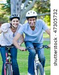 animated couple riding a bike... | Shutterstock . vector #47305732
