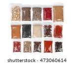 various spices and herbs packed ... | Shutterstock . vector #473060614