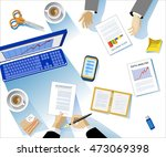 business concept. modern linear ... | Shutterstock .eps vector #473069398