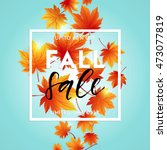 autumn sale flyer template with ... | Shutterstock .eps vector #473077819