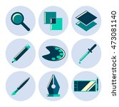 design tools flat icons set.