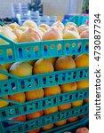 Fresh Ripe Peaches In Boxes In...