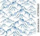 hand drawn mountain seamless... | Shutterstock .eps vector #473098660