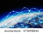 network and data exchange over... | Shutterstock . vector #473098834