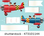 biplanes and banners. | Shutterstock .eps vector #473101144