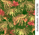 tropical pattern. exotic leaves ... | Shutterstock . vector #473102788
