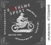 motocross vector vintage sport... | Shutterstock .eps vector #473106448