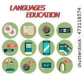 languages education flat icon...