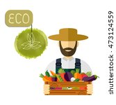 country farmer who keeps fresh... | Shutterstock .eps vector #473124559