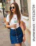 young stylish beautiful woman... | Shutterstock . vector #473126734